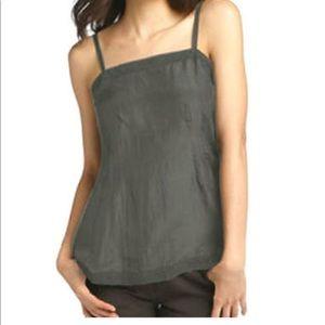 Eileen Fisher silk Habutai lace trim camisole gray